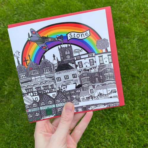 Megan Rose Design Stone Under the Rainbow Card