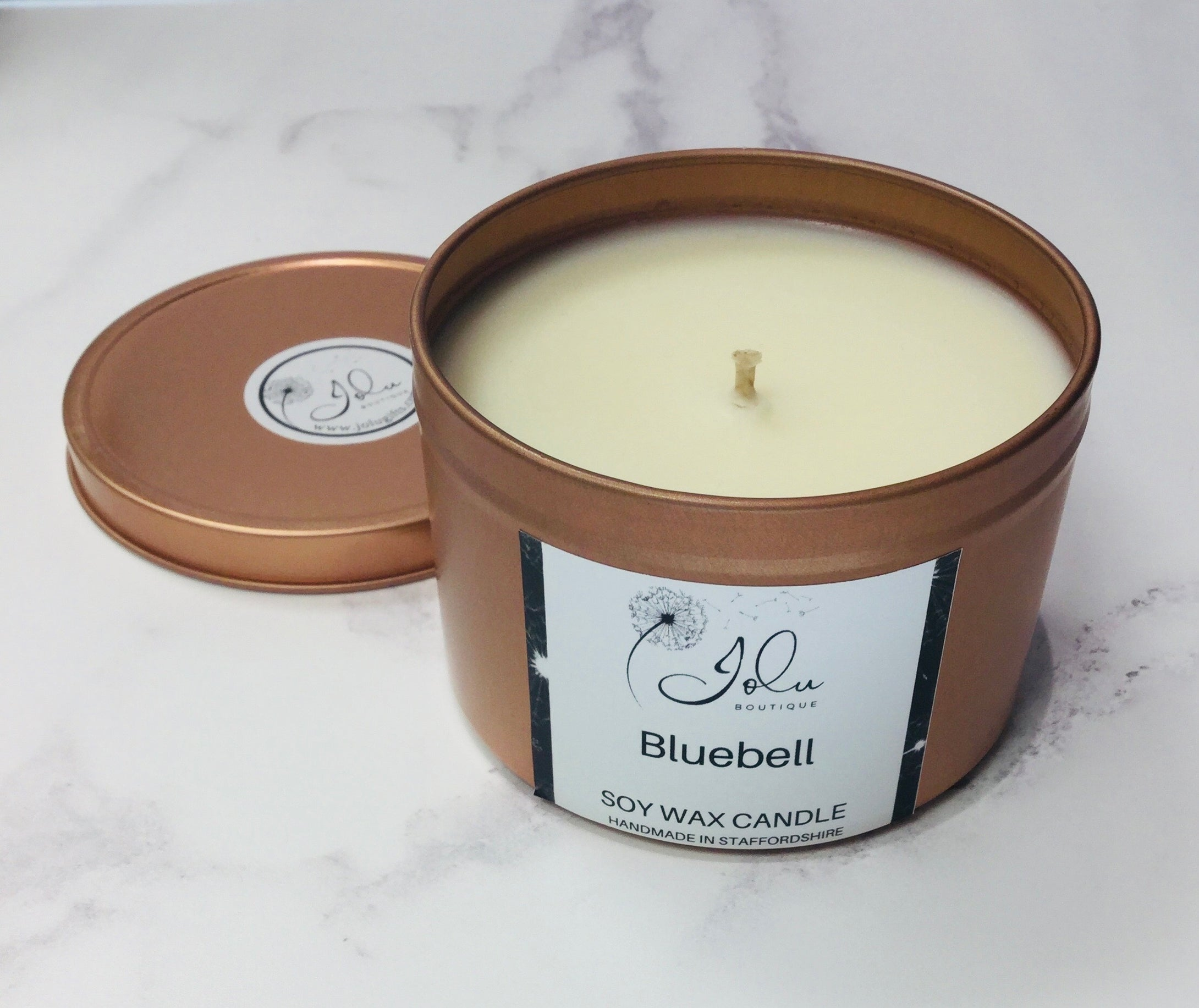 Jolu Boutique Bluebell Soy Wax Candle - Rose Gold Tin
