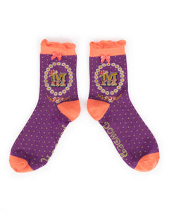 Powder Alphabet Socks - Letter M
