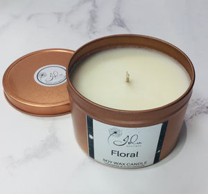 Jolu Boutique Floral Soy Wax Candle - Rose Gold Tin