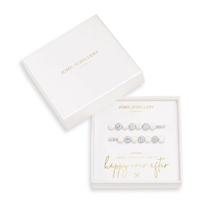 Joma Jewellery Happy Ever After Hair Accessories - Pearl & CZ Slides