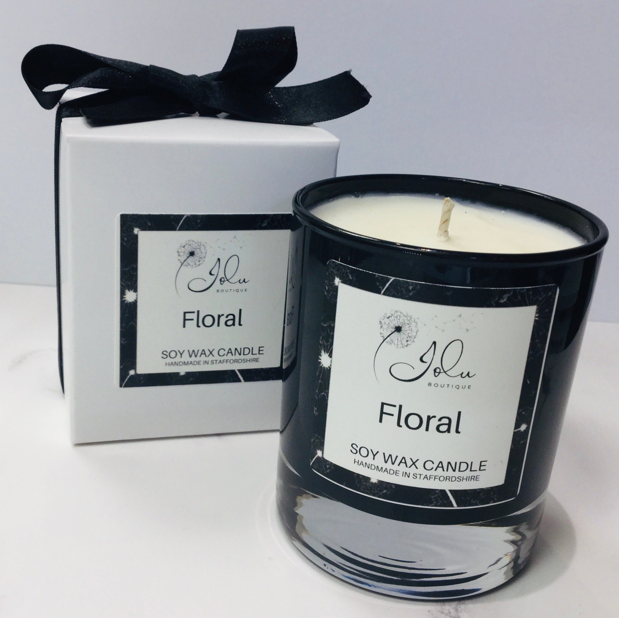 Jolu Boutique Floral Soy Wax Candle - Boxed Glass