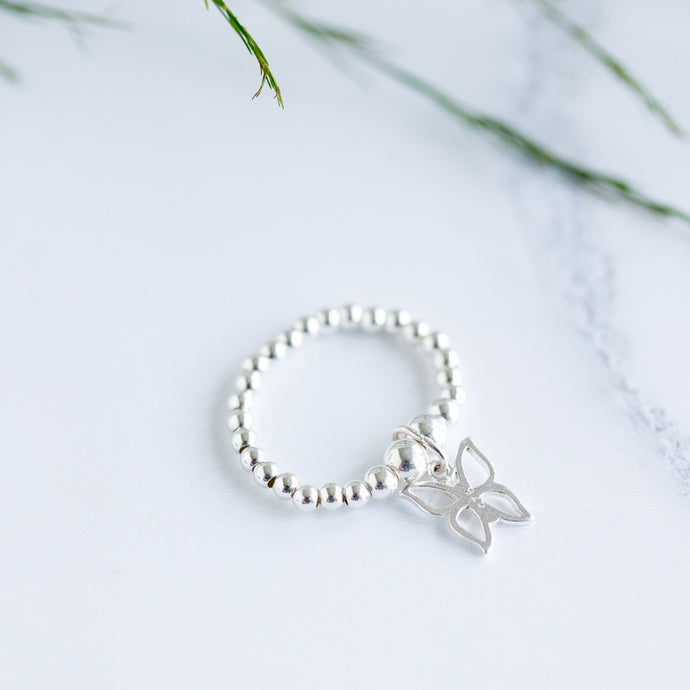 Chloe Butterfly Charm Sterling Silver Stretch Ring