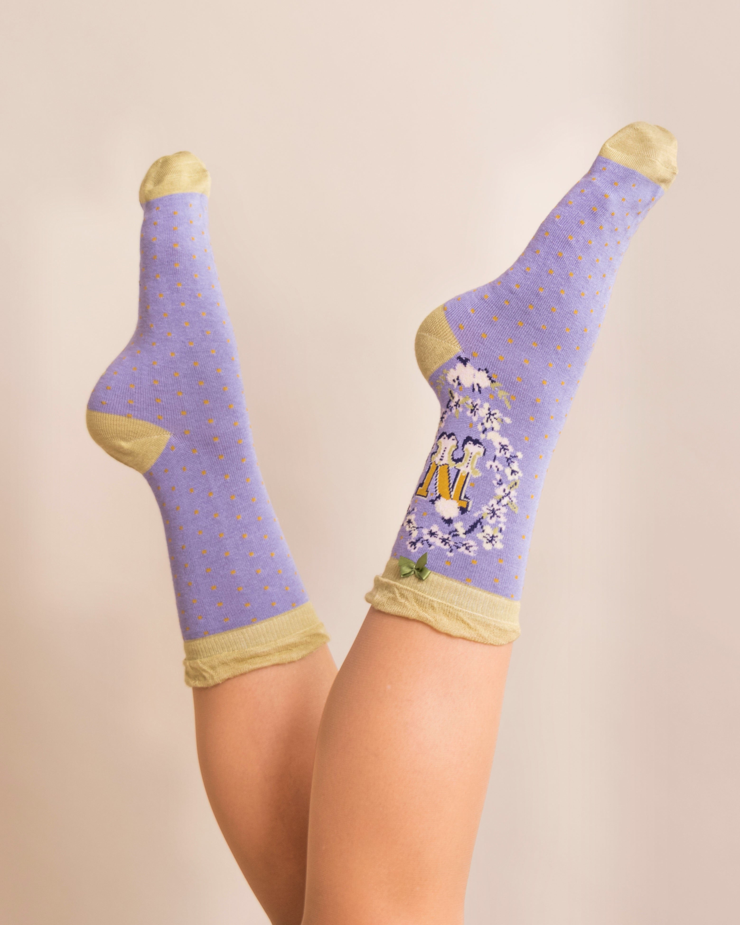 Powder Alphabet Socks - Letter N