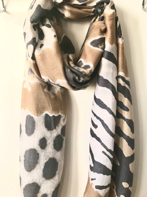 Animal Print Scarf - Taupe Mix
