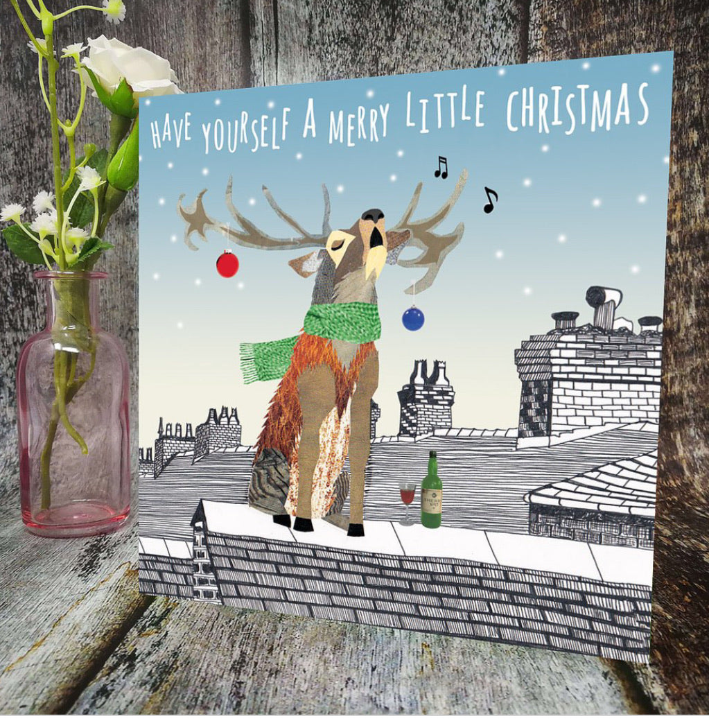 Flying Teaspoons Merry Reindeer Christmas Card