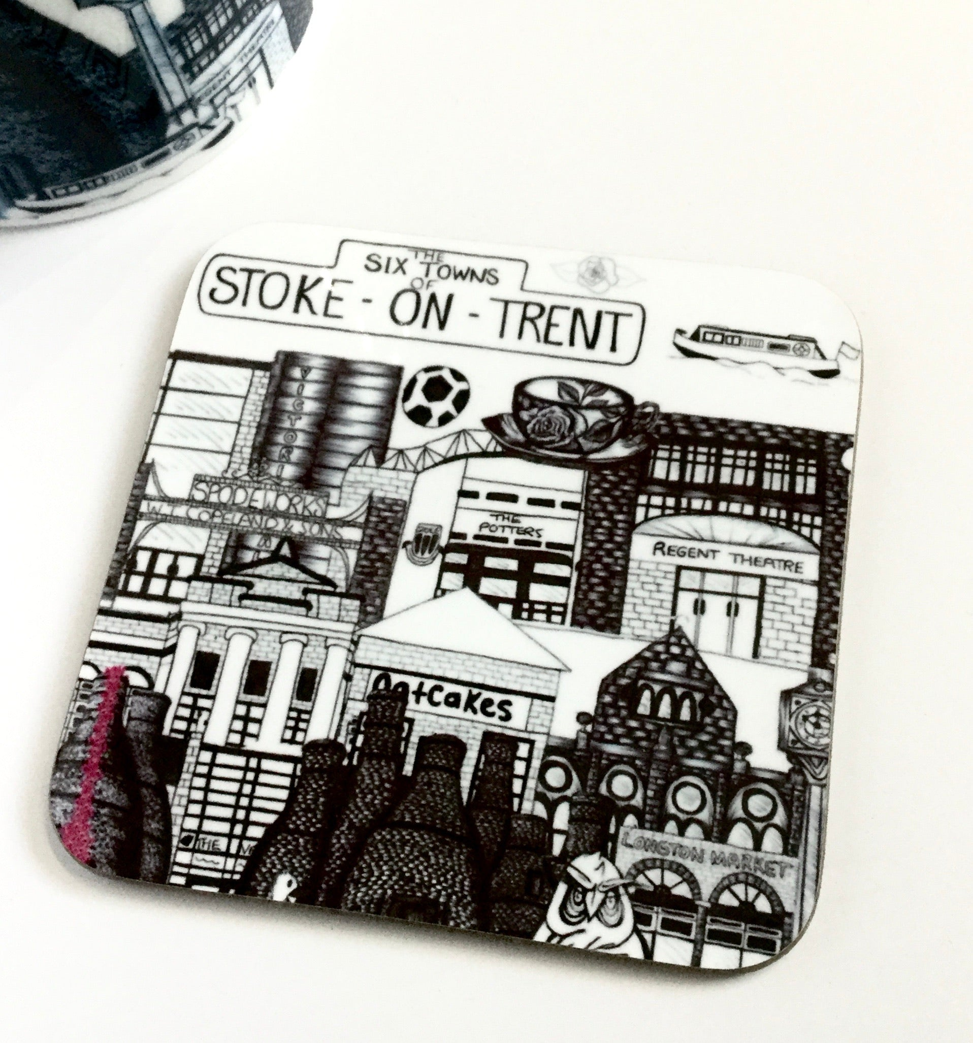 Megan Rose Design The Six Towns of Stoke-on-Trent Coaster