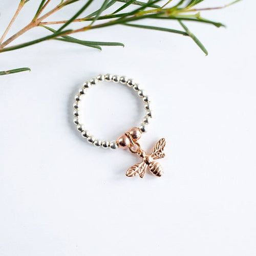 Jolu Jewellery Queen Bee Rose Gold Mix Stretch Ring