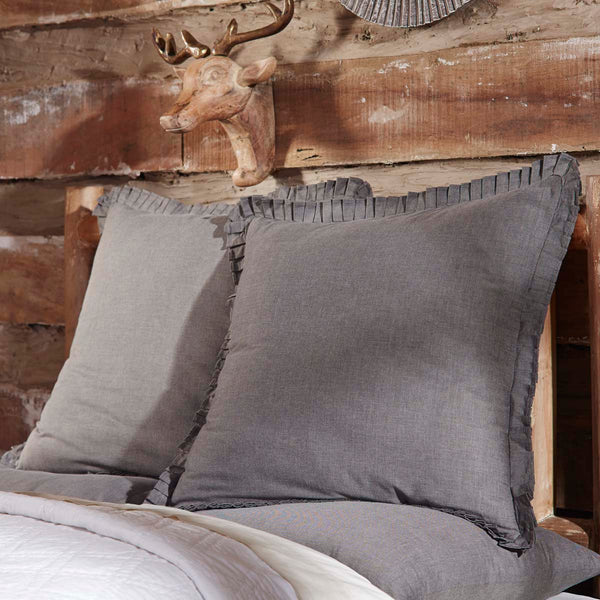charcoal chambray shams and bed skirt dust ruffle