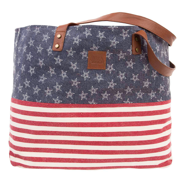 Patriotic Canvas Tote Bag Vintage Farmhouse Style