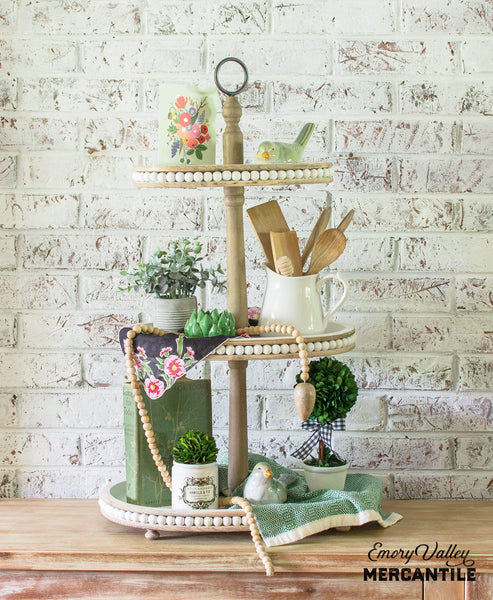 farmhouse style wooden tiered tray