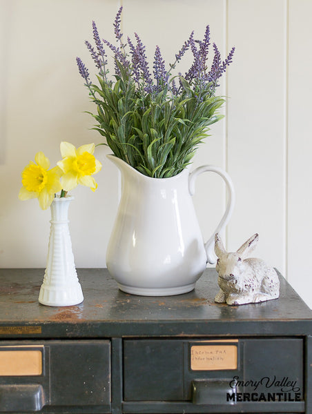white stoneware pitcher with lavender