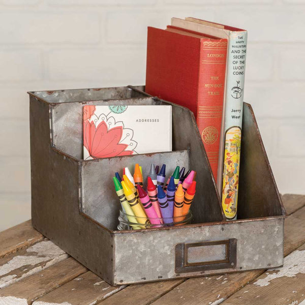 farmhouse style galvanized metal desk organizer