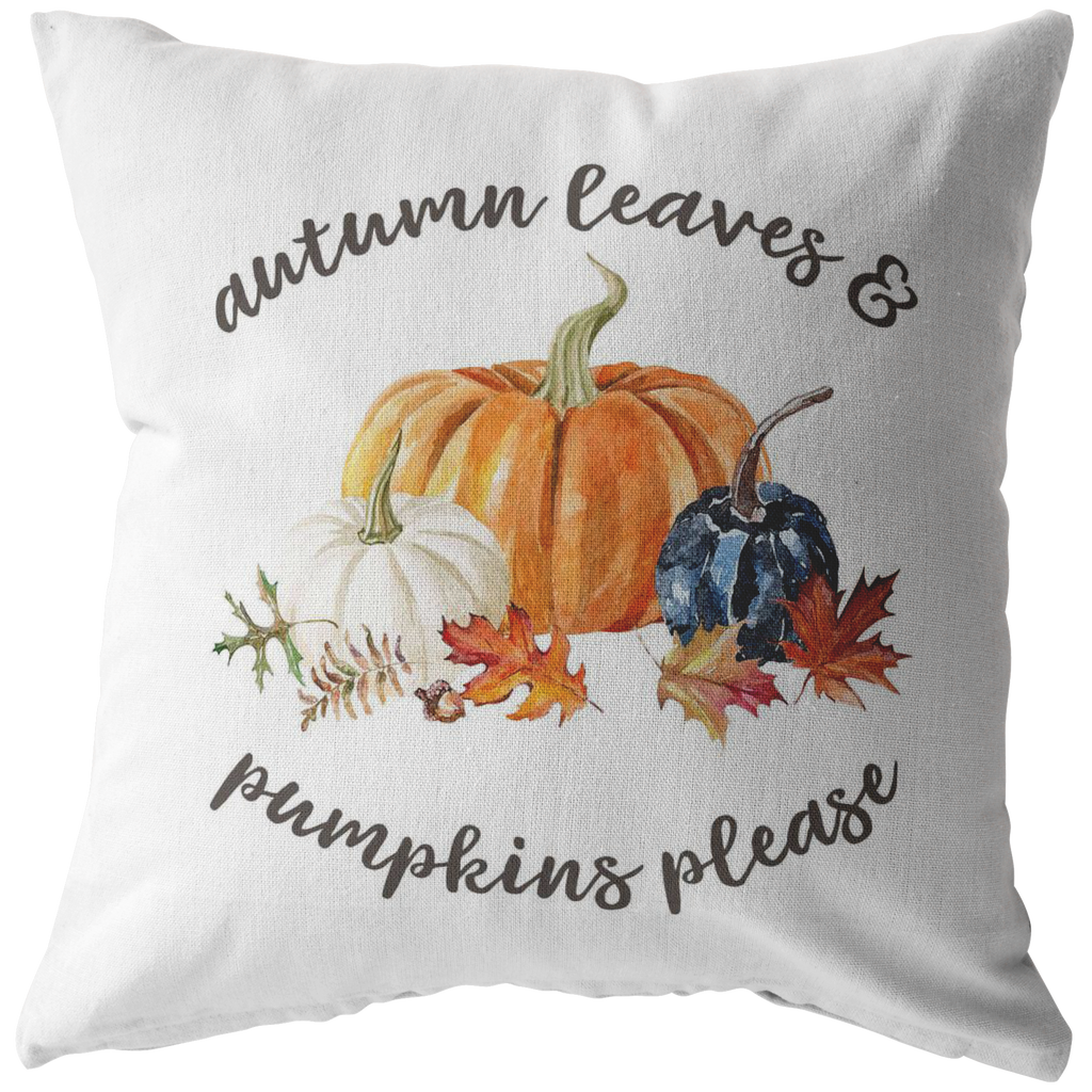 Autumn Leaves and Pumpkins Please Pillow