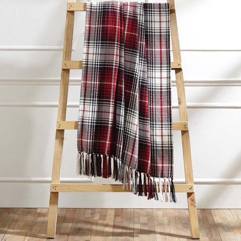 red, black, & white throw blanket