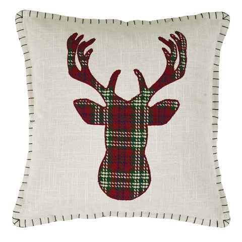 Plaid deer Christmas pillow