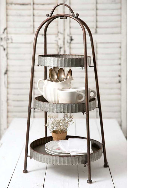 farmhouse style corrugated metal 3 tier display stand