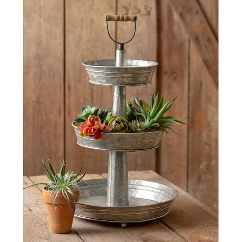 3 tier galvanized metal farmhouse style tray stand