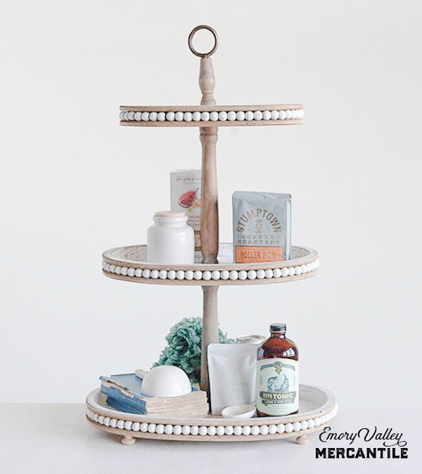 3 tier wood tray stand beaded edge