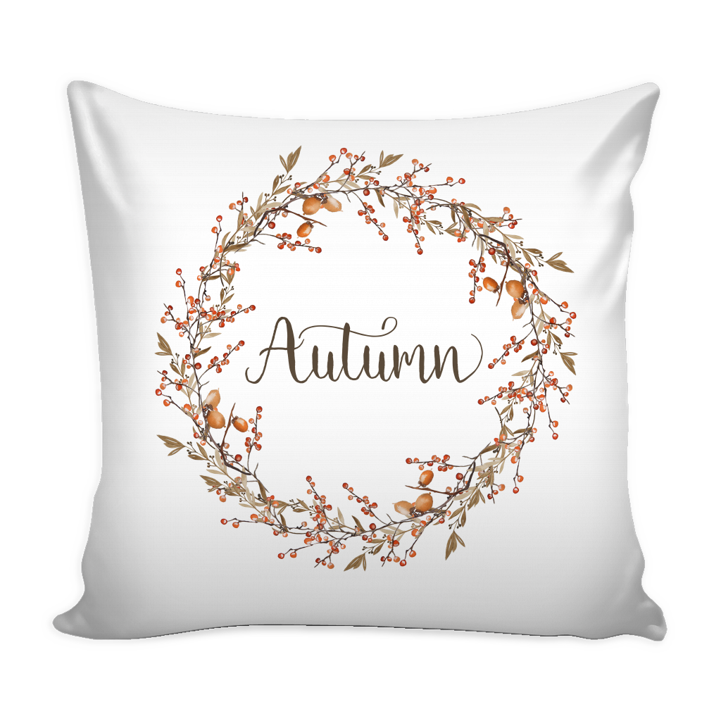 autumn berry wreath pillow cover