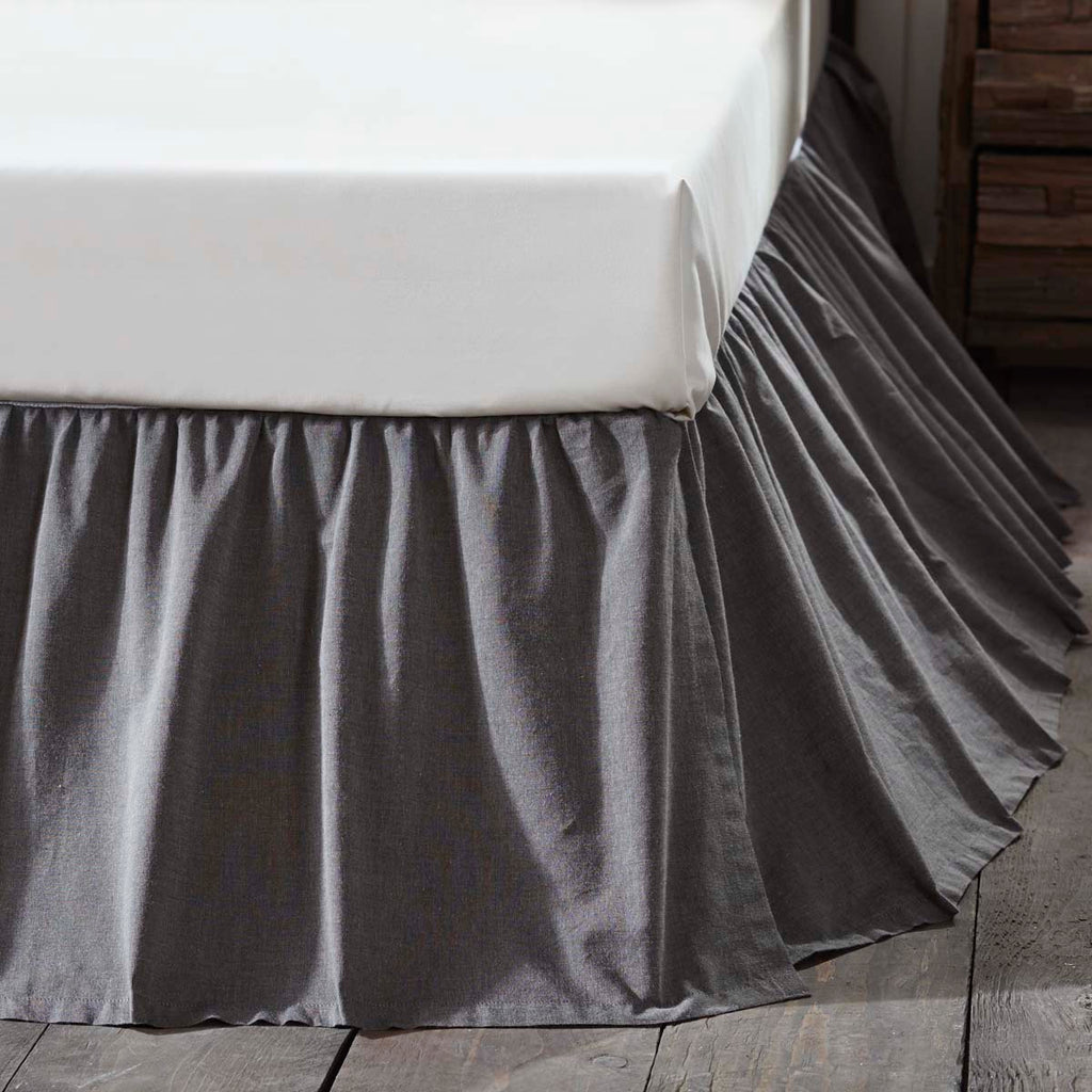 Black chambray charcoal bedskirt dust ruffle