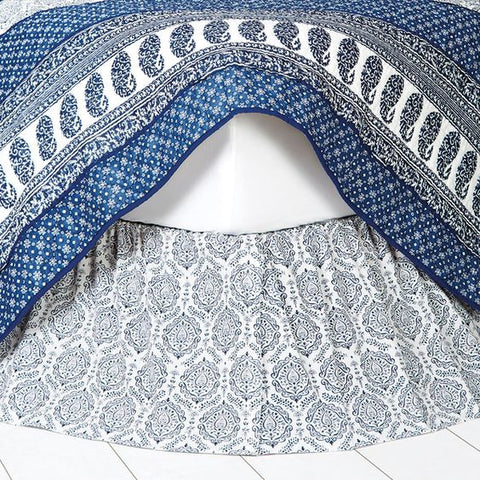 Blue and white dust ruffle bed skirt