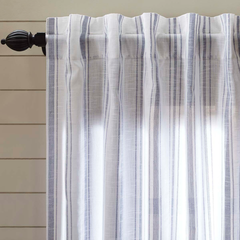 Blue and White Stripe Curtain Panel
