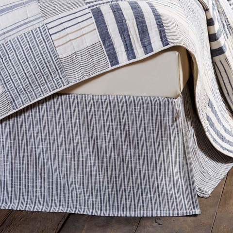 Blue and White Stripe Bed Skirt