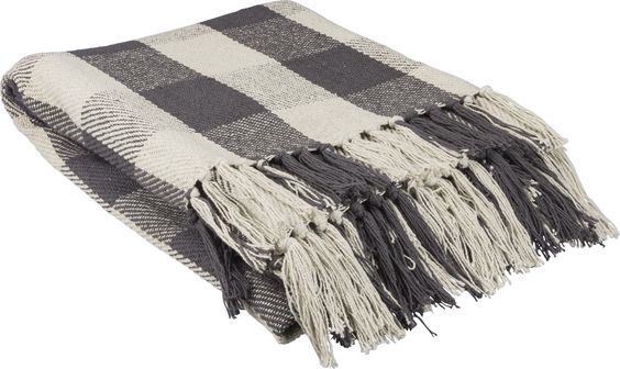 gray and cream Buffalo check throw blanket