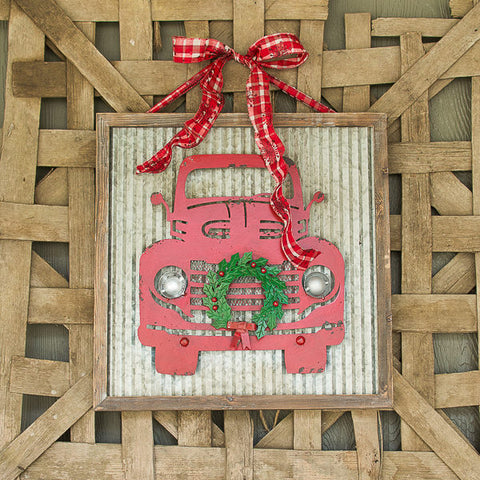 vintage red metal truck Christmas wall art
