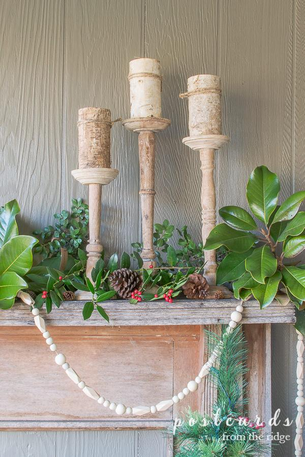 rustic wood candlesticks
