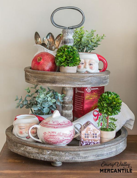 two tier tray with Christmas decor