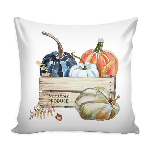 "SPECIAL PURCHASE 16"" X 16"" Crate full of fall pumpkins Throw Pillow"