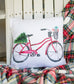 Red Bicycle with Christmas Tree Pillow Cover