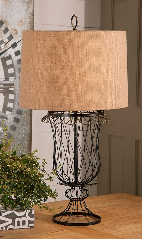 French wire urn lamp with linen shade