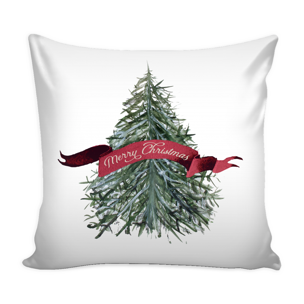 Exclusive Watercolor Christmas Tree Pillow Cover