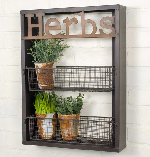 herbs metal basket wall shelf