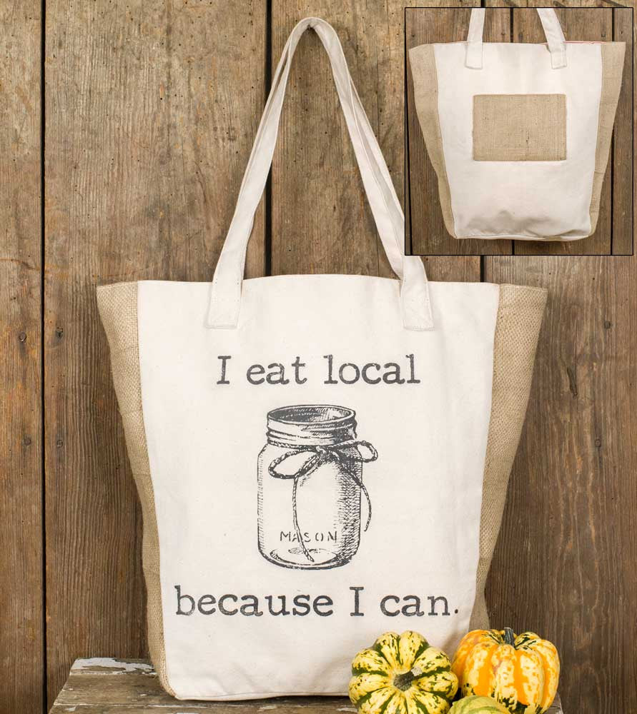 I eat local because I can canvas market bag