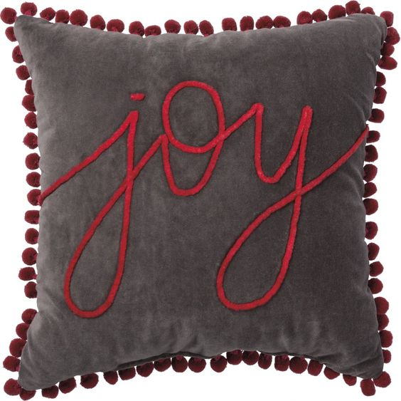Joy velvet pillow with pom trim