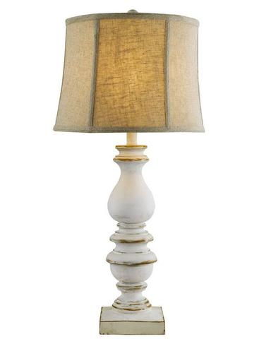 white distressed lamp with linen shade