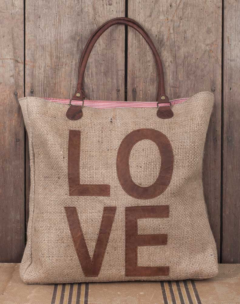 LOVE burlap and leather vintage style tote bag
