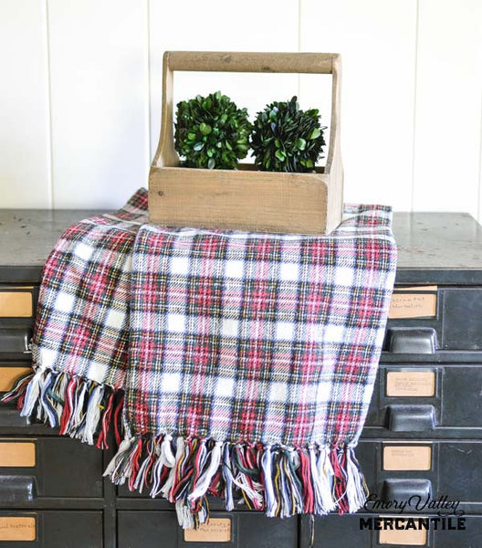 Plaid Christmas Throw Blanket with Fringe