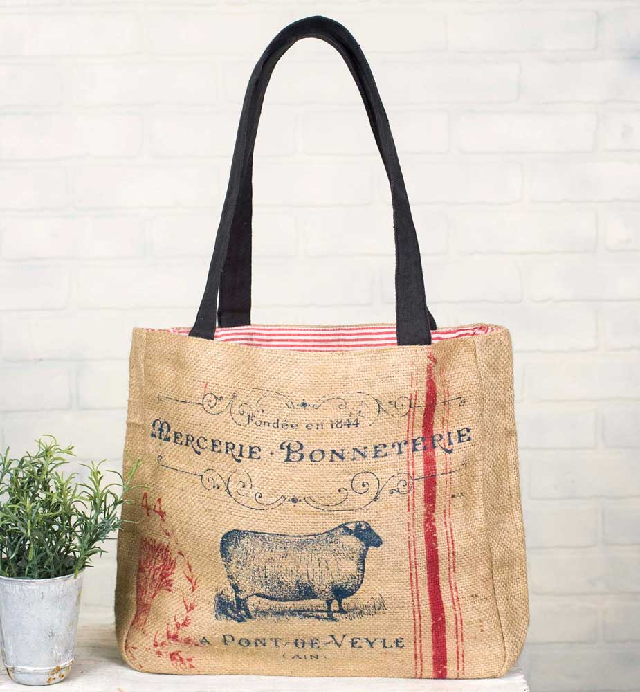 Farmhouse Style Burlap Tote with Sheep