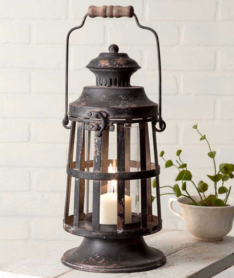 vintage farmhouse style metal candle lantern with wood handle