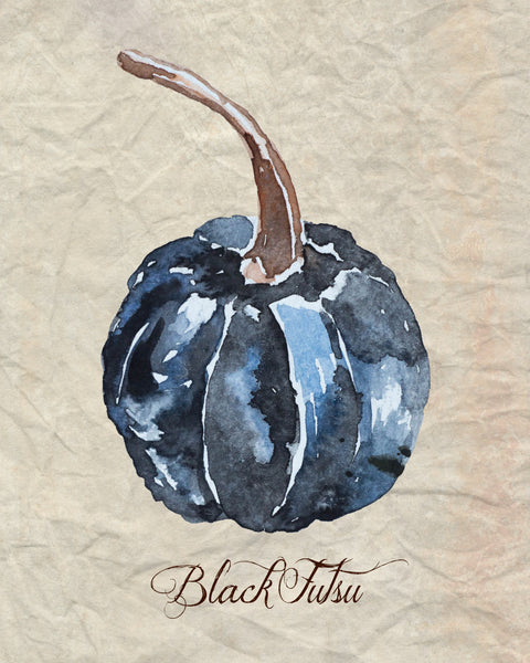 dark blue black futsu watercolor pumpkin printable for fall