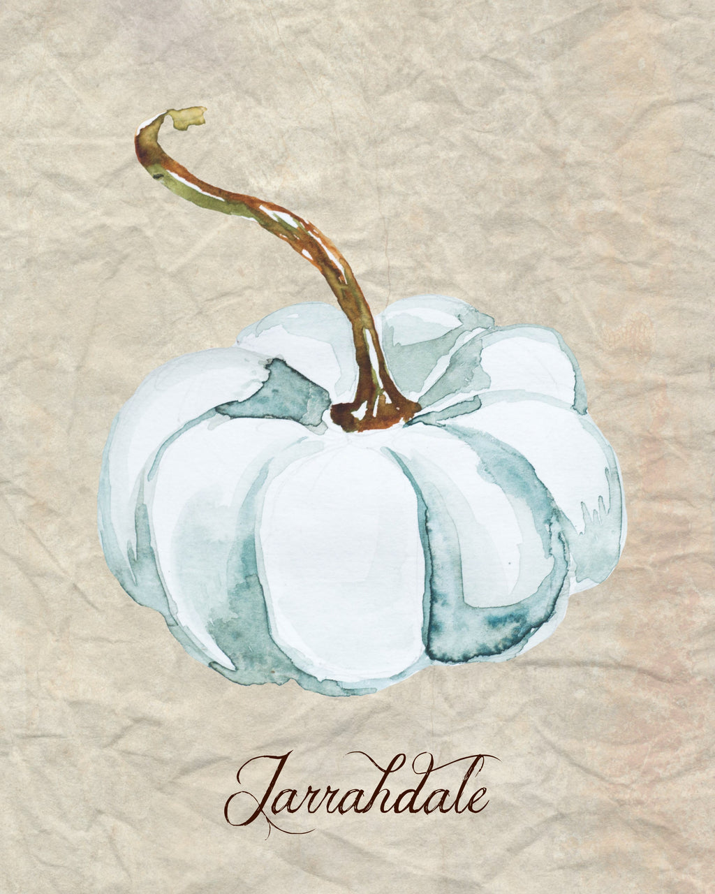 Light blue watercolor pumpkin printable