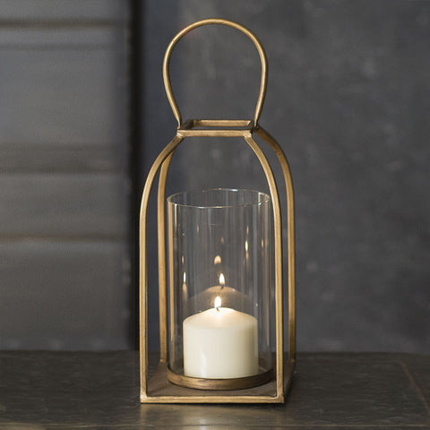 modern farmhouse candle lantern brass finish