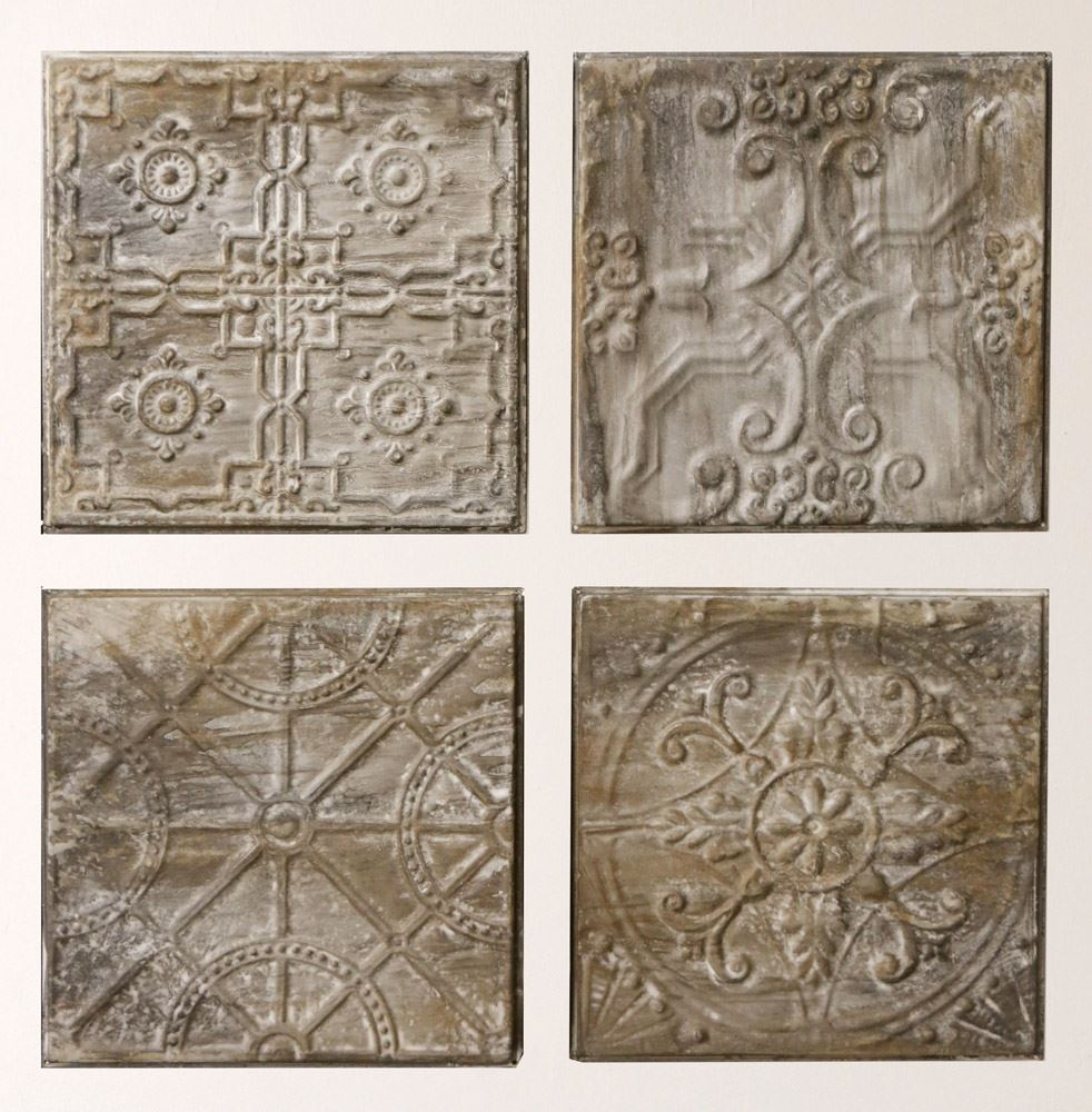 Set of 4 Antique Inspired Metal Ceiling Tiles, Antique Gray