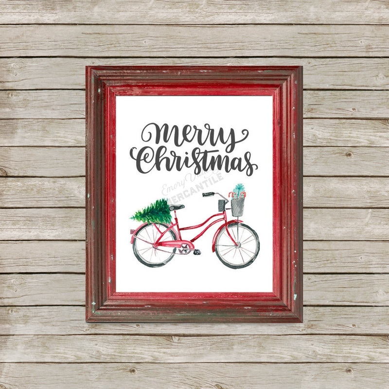red bicycle Christmas printable