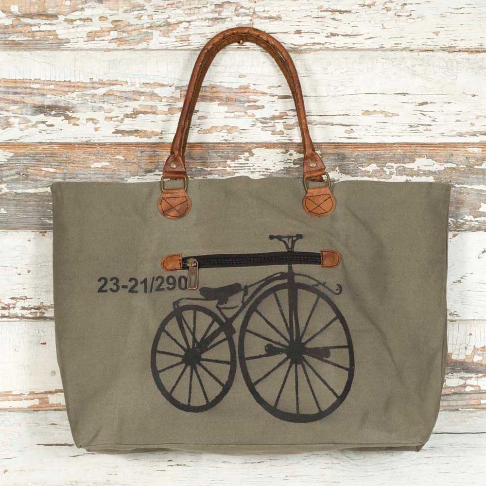 canvas tote bag with vintage bicycle and leather handles